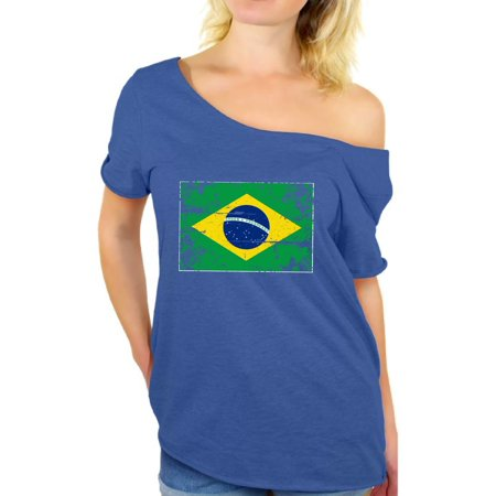 Awkward Styles Brazil Flag Off Shoulder Shirt Women's Brazil Baggy Shirt Brazil Shirts for Women Brazilian Soccer Gifts for Her Brazil 2018 Dolman Top Gifts from Brazil Cute Brazil Baggy Tshirt