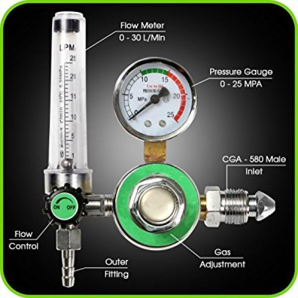 Argon Flow Meter Regulator Mig Tig Flowmeter Welding Welder Gauge CGA-580