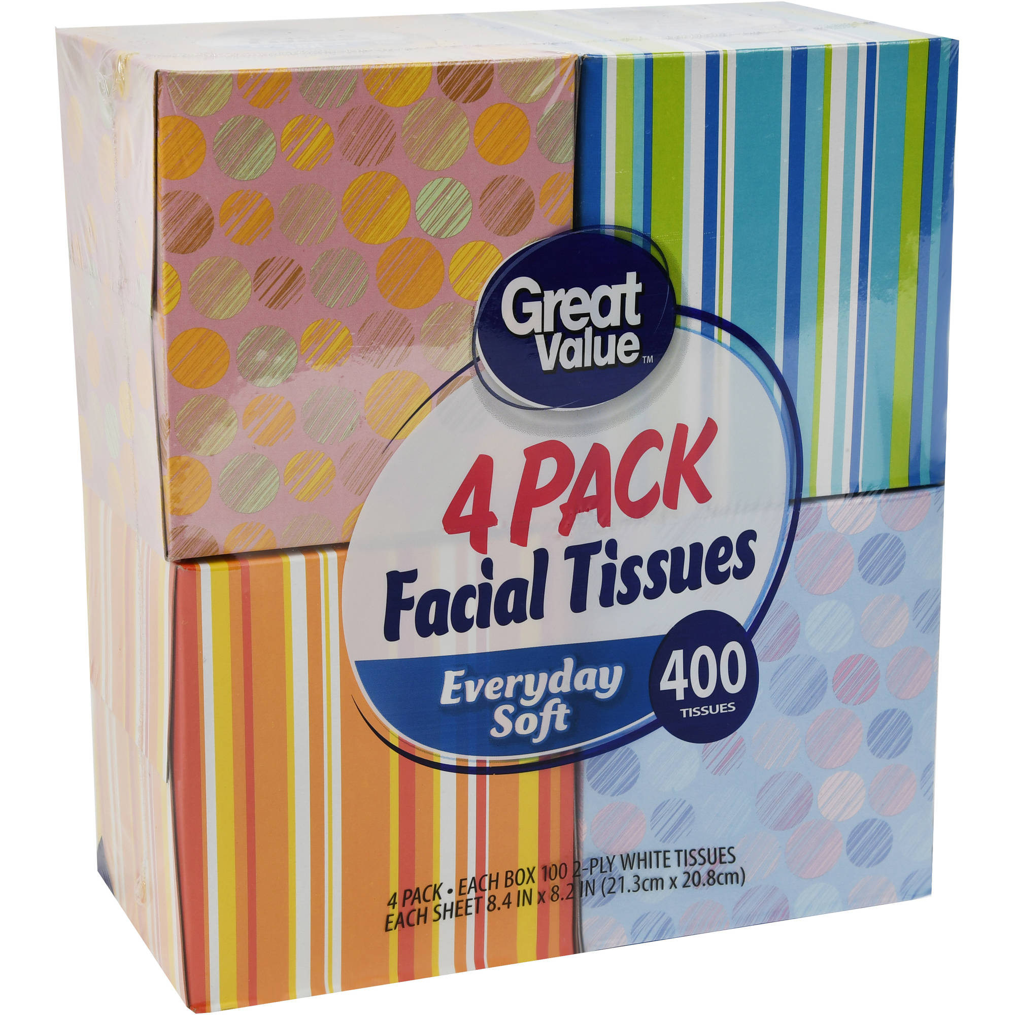 Great Value Facial Tissues, 100 sheets (Pack of 4)