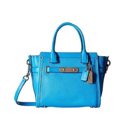 Coach 37444 Swagger 21 Azure Pebbled Leather Satchel Crossbody Bag