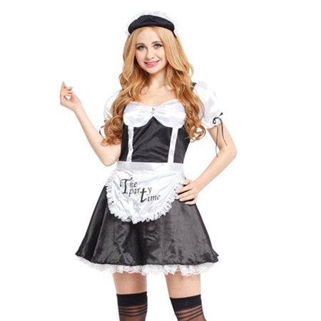 8b9e4b06c897 Spooktacular Women's Sexy French Maid Costume with Dress, Apron &  Accessories, S - Walmart.com