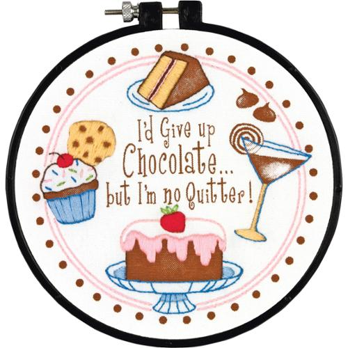 """6"""" Round Learn-A-Craft I'm No Quitter Stamped Cross Stitch Kit Dimensions 72-73703"""