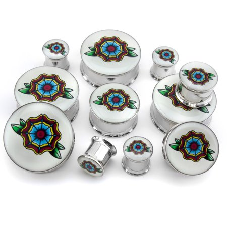 1 Inch 25mm Traditional Flower Tattoo Steel Plugs Gauges Artist Series