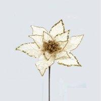 "Kurt Adler 18"" White/Gold Poinsettia Pick"
