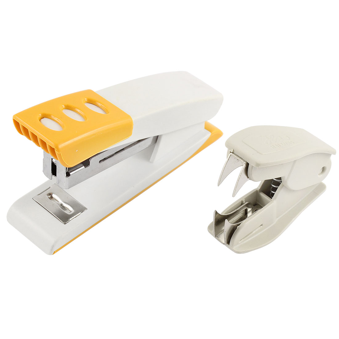 2 in 1 Orange White Plastic Shell Stapler Beige Staple Remover for Office Woker by Unique-Bargains