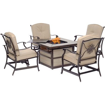 Hanover Traditions 5-Piece Fire Pit Chat Set with 4 Cushioned Rockers and a 40,000 BTU Fire Pit Table ()
