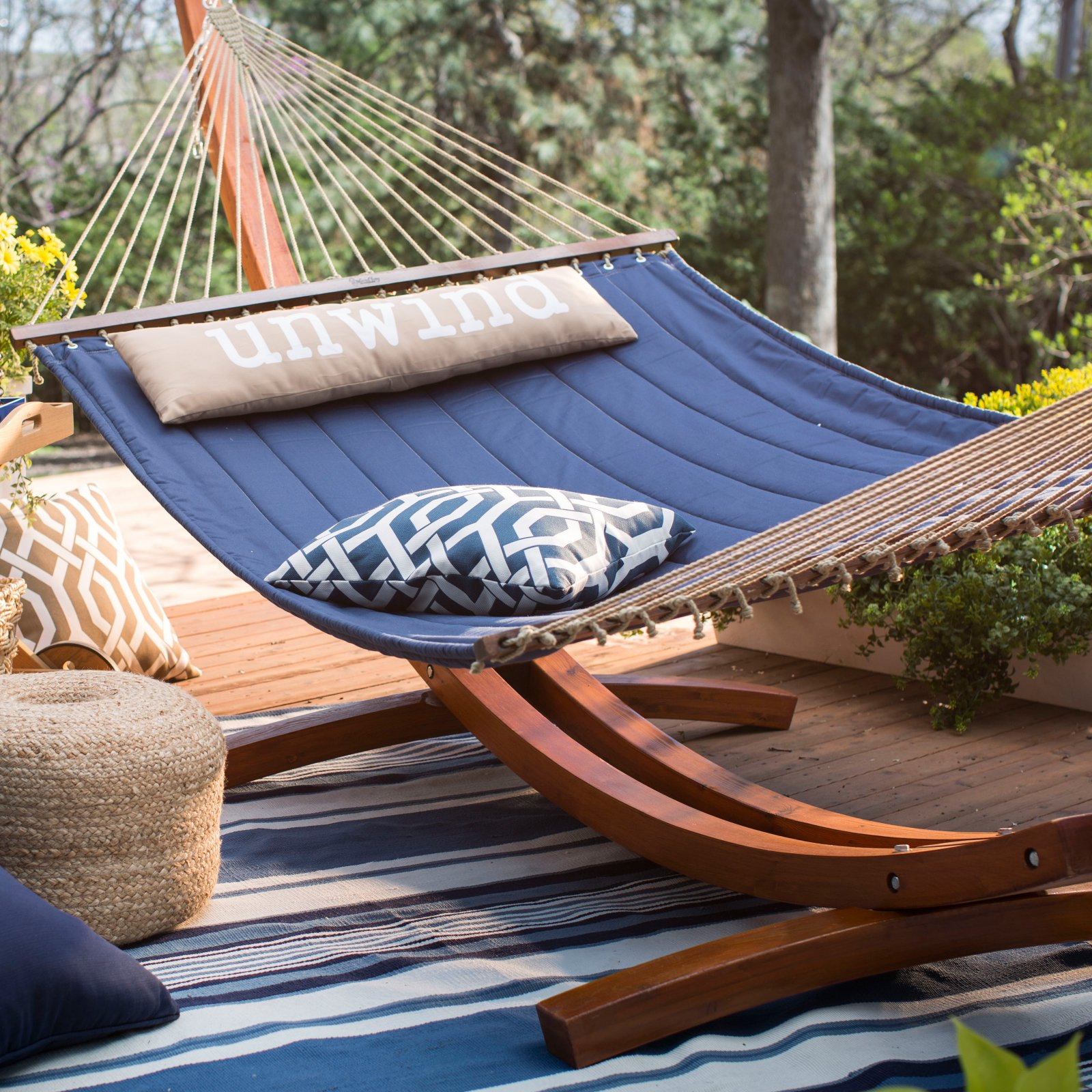 Coral Coast 13 ft. Unwind Quilted Hammock with Russian Pine Stand by