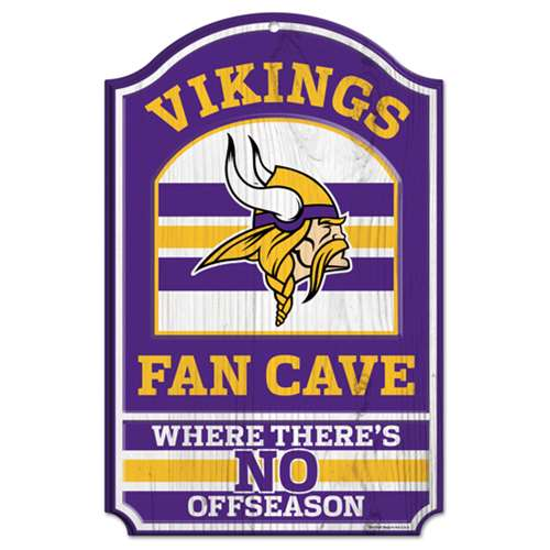 "Minnesota Vikings Wood Sign - 11""x17"" Fan Cave Design"