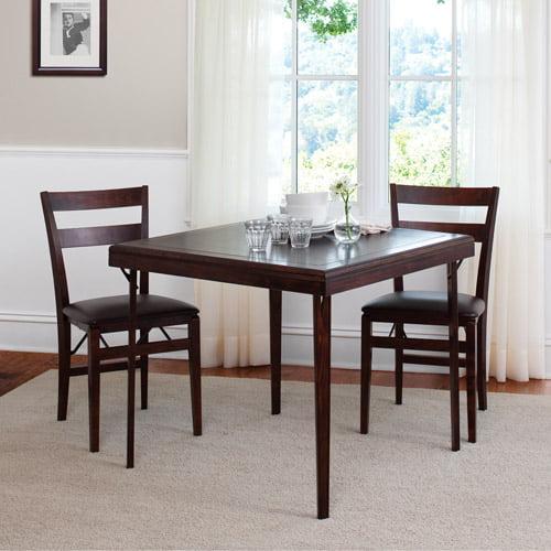 Canopy Solid Wood Folding Table, Mahogany Finish