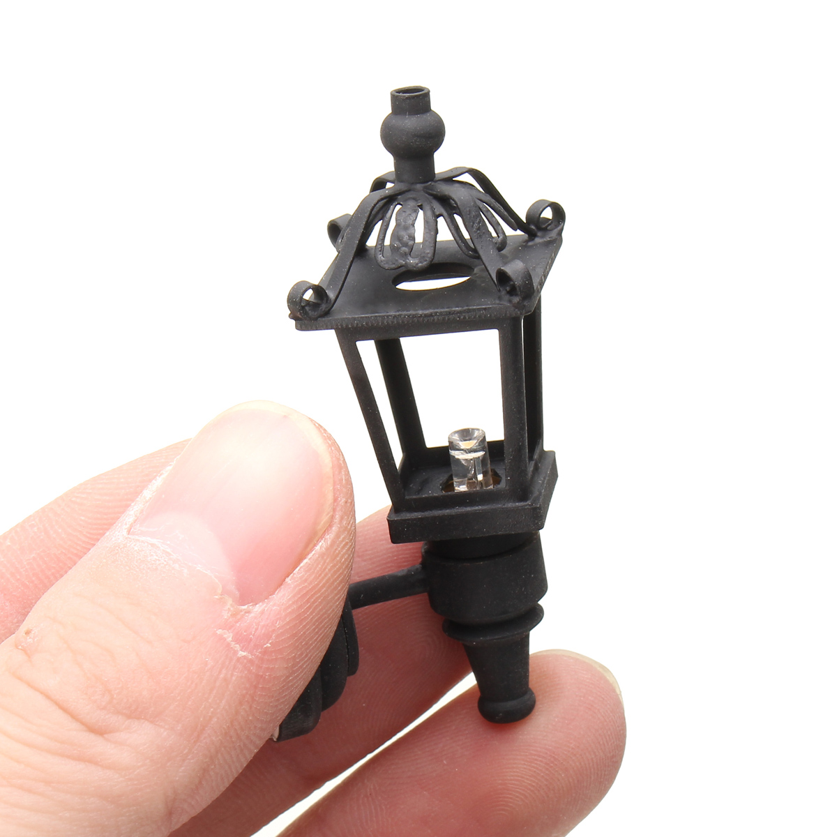 Dollhouse Miniature Sconce Black Wall Lamp Led light /Outdoor Yard decoration
