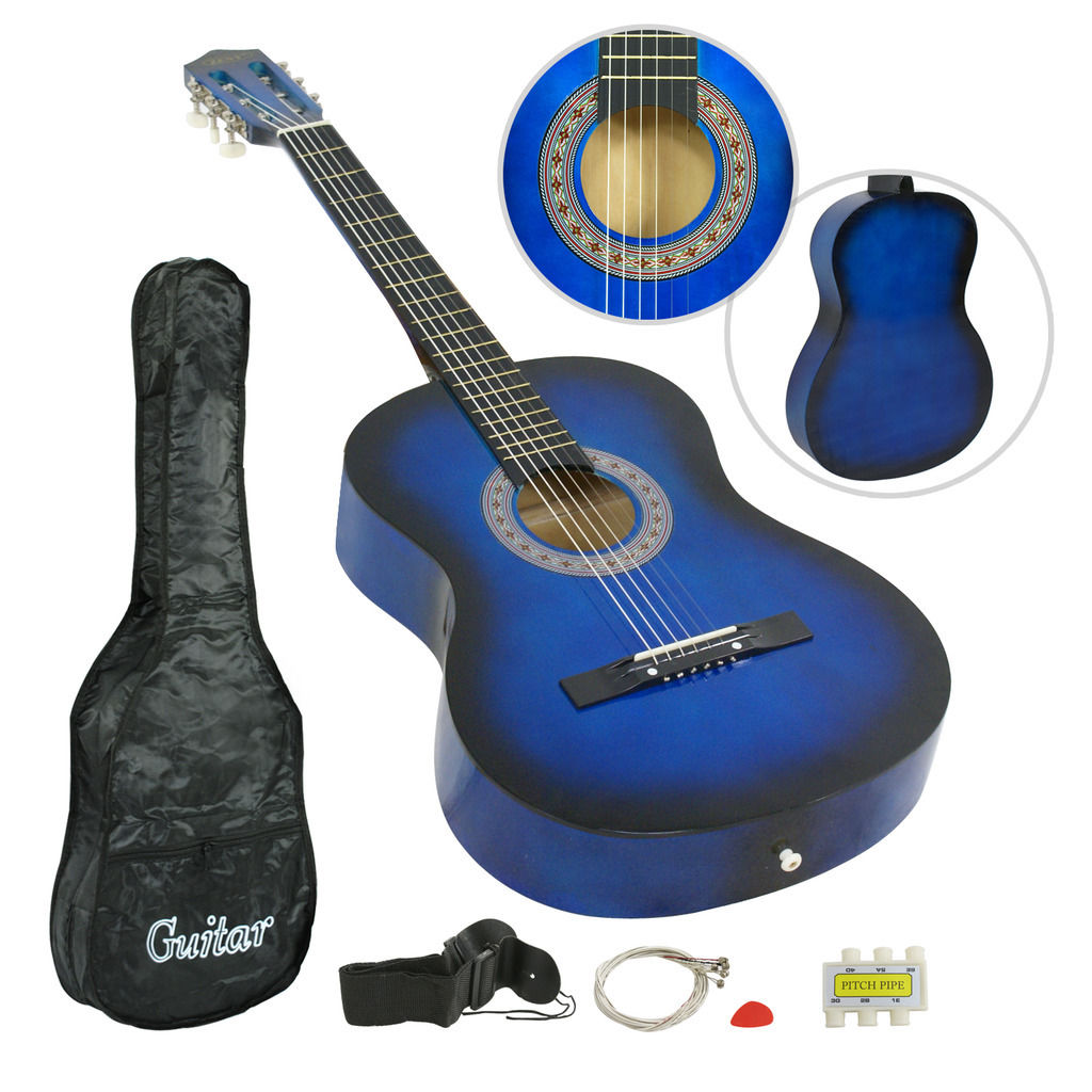 "Zeny 38"" Blue Acoustic Guitar Beginner Gigbag Strap Tuner Kids Musical Gift by"