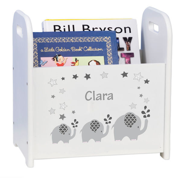 Personalized Gray Elephant White Book Caddy and Rack