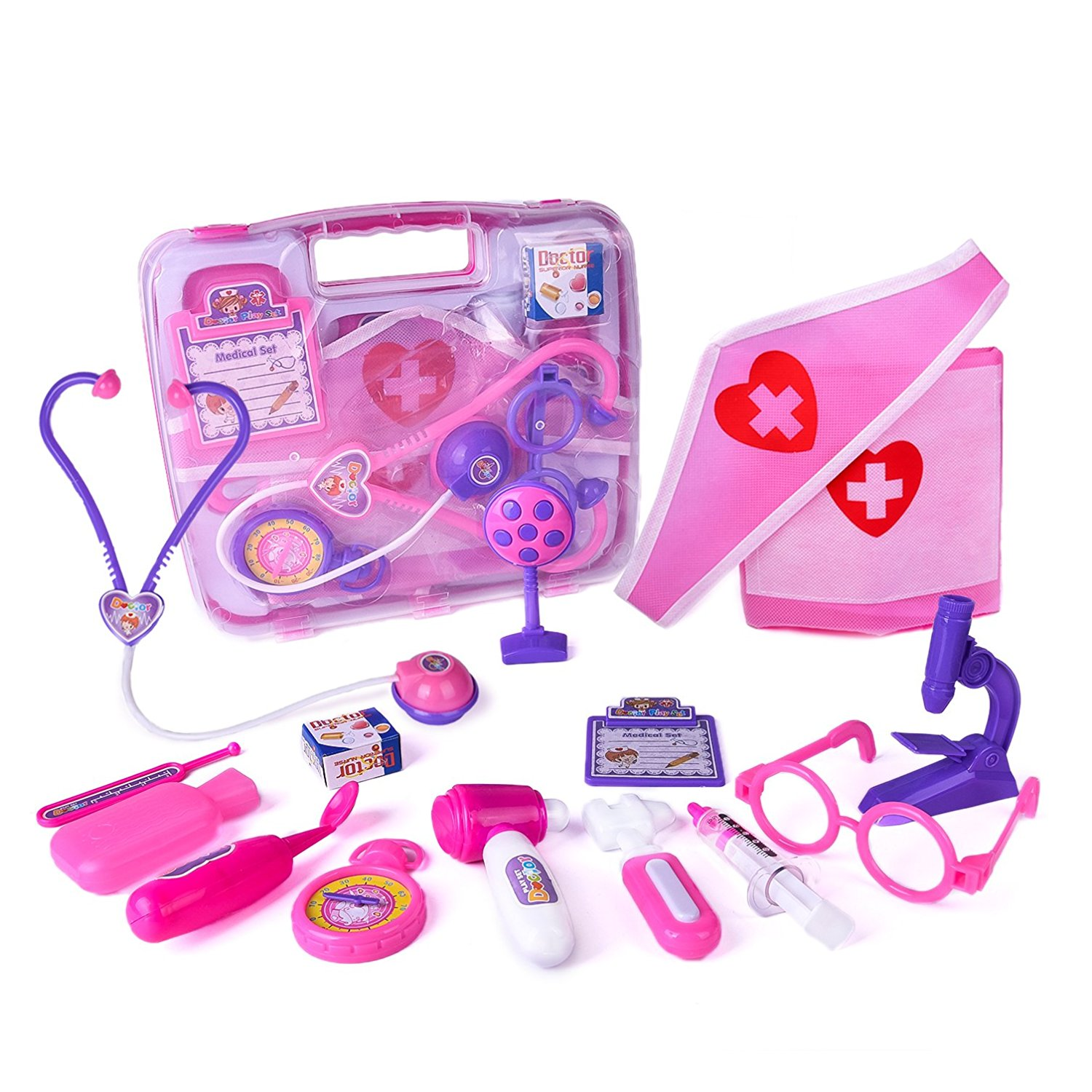 Doctor Nurse Medical Kit Assorted Pink Pretend Role Play Educational Playset With Durable Box for Birthday Gifts 15 PCs F-16