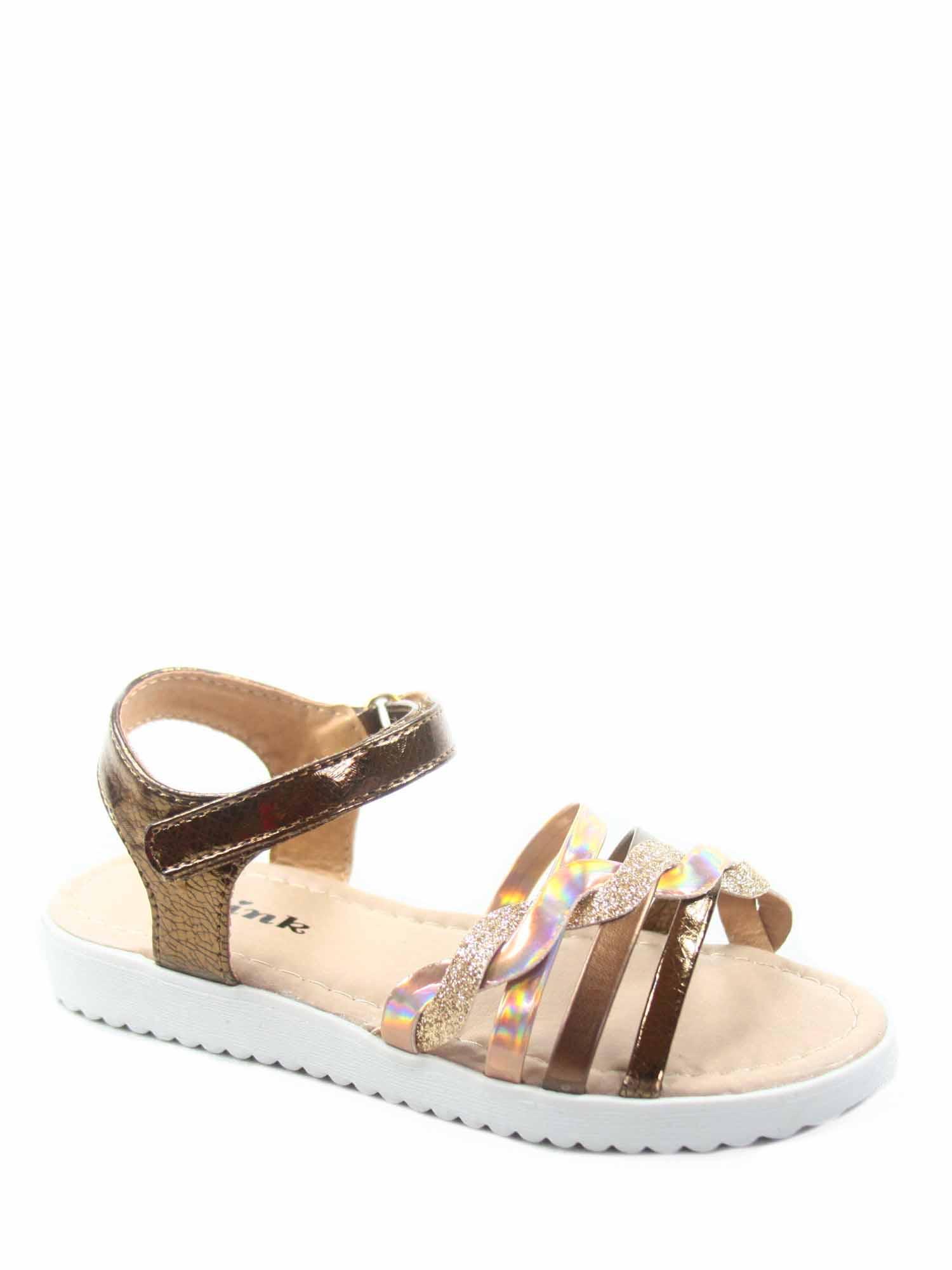 ffbc228343cac1 Link - Kristin-2k Link Youth Girl s Strappy Bling Gladiator Flat Heel Sandal  Shoes - Walmart.com