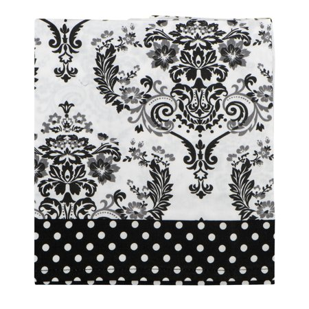 - Bacati Window Valance Classic Damask White/Black, 1.0 CT