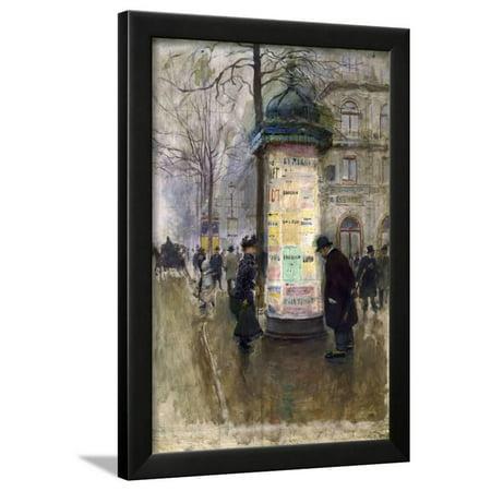 La Colonne Morris (angle de la rue Laffite et du boulevard des Italiens) Framed Print Wall Art By Jean