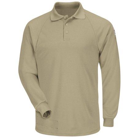 Bulwark FR Khaki Classic Long Sleeve Polo