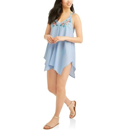 258b2889ae50b No Boundaries - Juniors' Gauze Embroidered Swim Cover-Up Tank Top -  Walmart.com