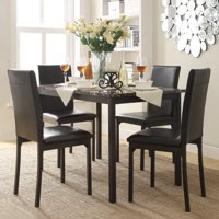 Weston Home Declan 5-Piece Faux Marble Top Metal Frame Dining Set with 4 Faux Leather Chairs