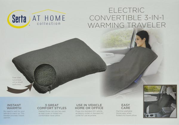 Serta Convertible 3-in-1 Heated Traveler Blanket//Pillow in Charcoal Brand New