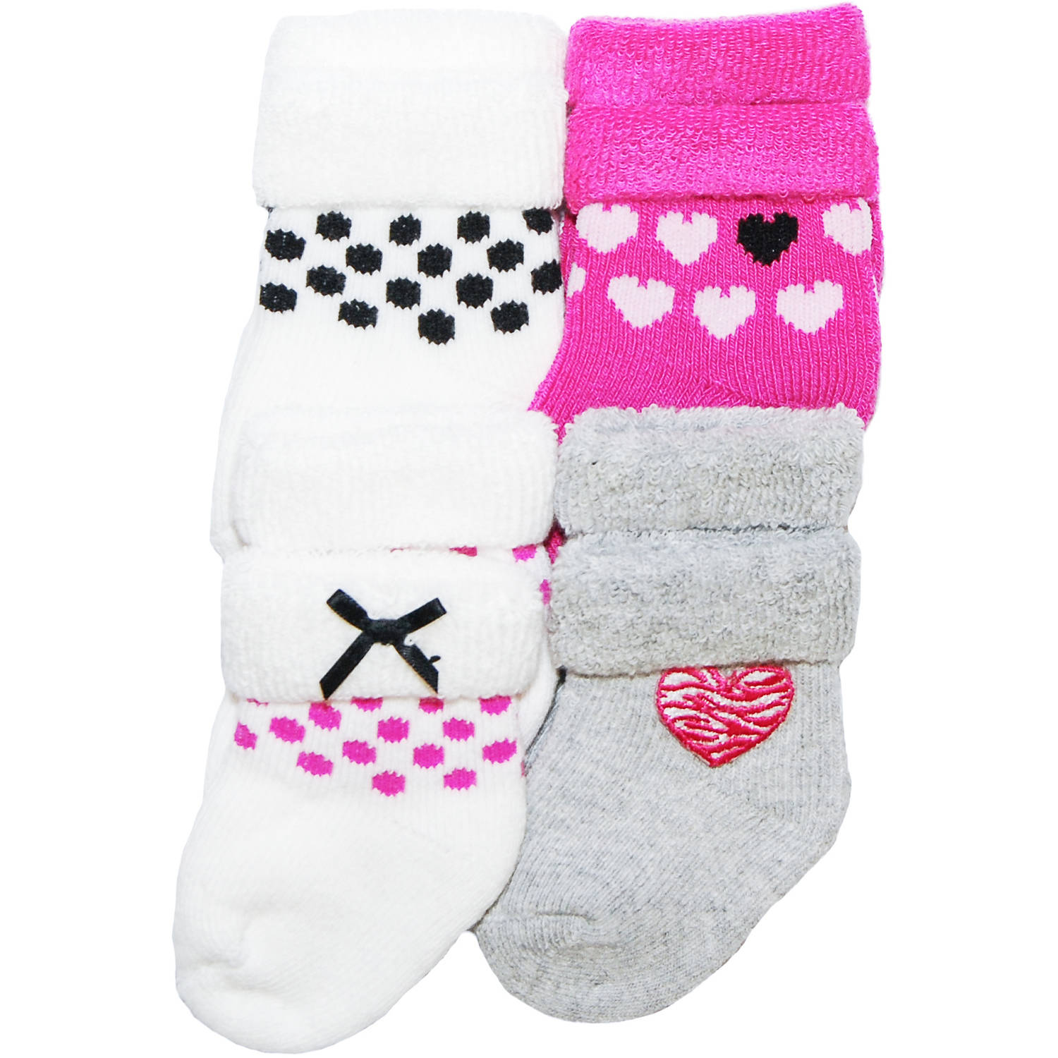 Child of Mine by Carter's Newborn Baby Girl 4-Pack Terry Tip Socks, 0-3M