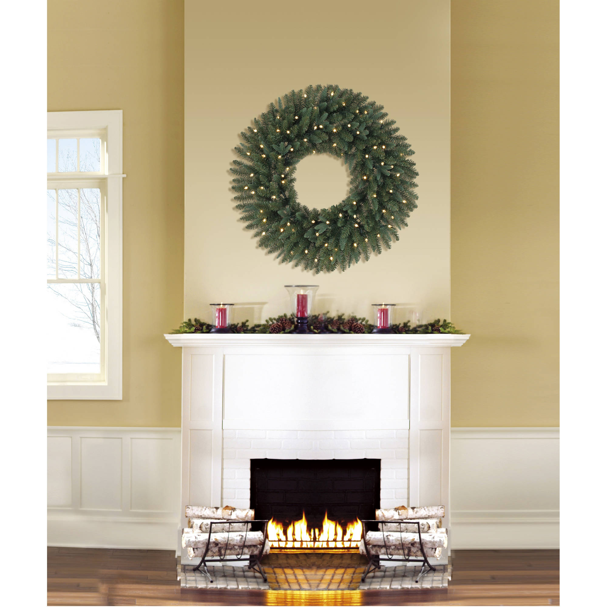 Holiday Time Pre - Lit 30 Gloversville Spruce Artificial Christmas Wreath, LED Lights