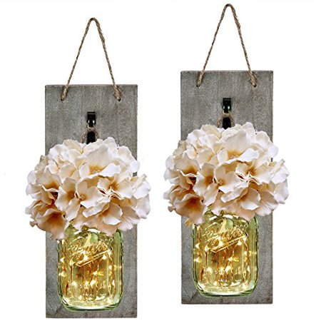 Mason Jar Sconce With Led Fairy Lights Handcrafted Hanging Sconces Wall Decor Set Of 2