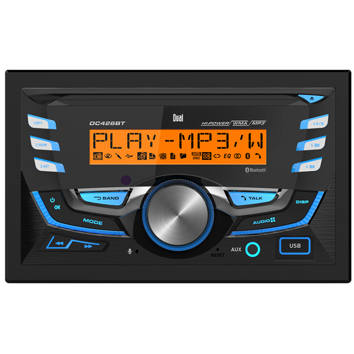 Dual DC426BT Double Din CD Player w/Bluetooth, Mic, Multi Color Display & USB