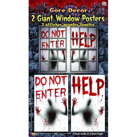 2 Piece Giant Bloody Window Posters Halloween Party Decoration One Size