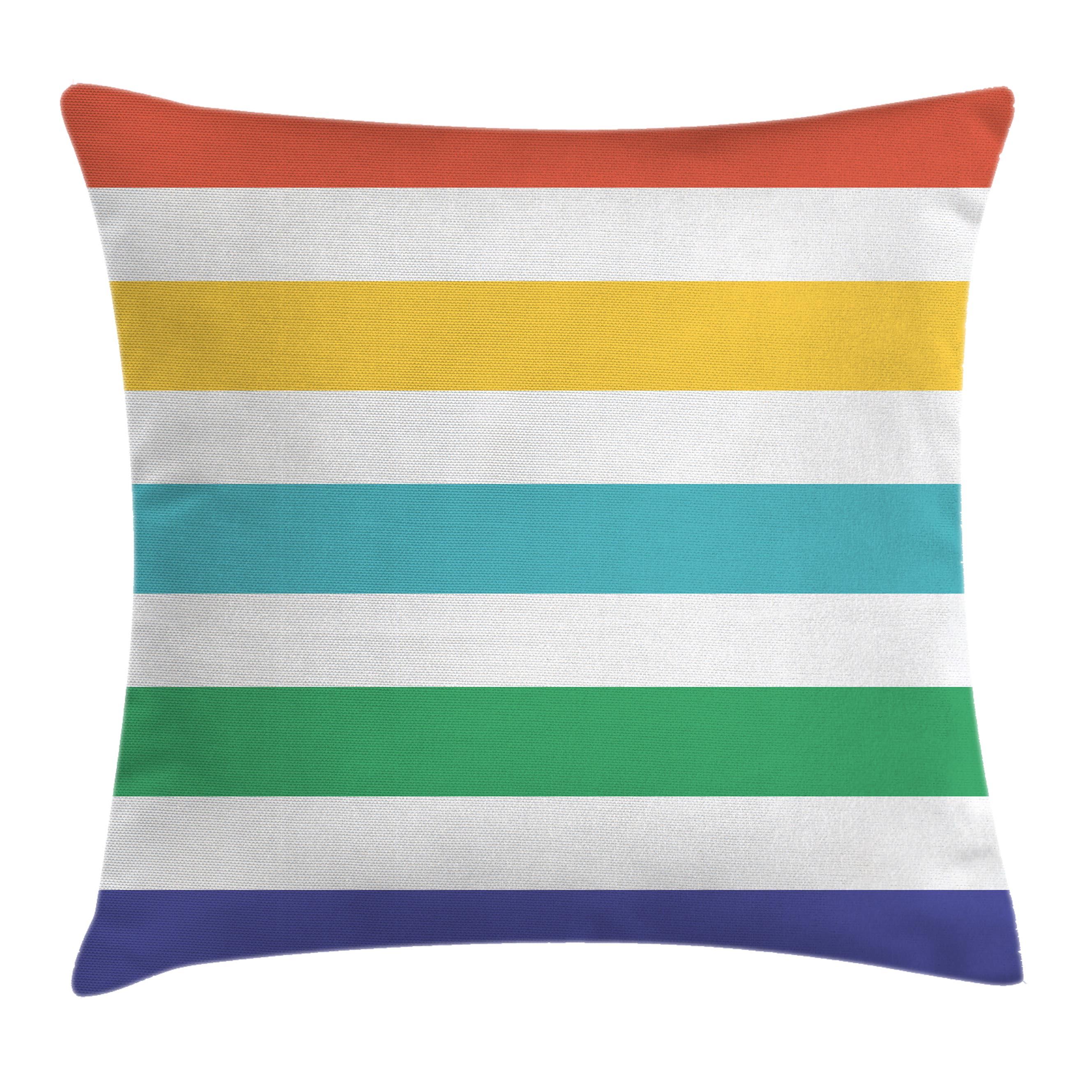 Striped Throw Pillow Cushion Cover, Rainbow Colored and White Fun Horizontal Lines Kids Room Red Yellow Blue Green Art, Decorative Square Accent Pillow Case, 24 X 24 Inches, Multicolor, by Ambesonne