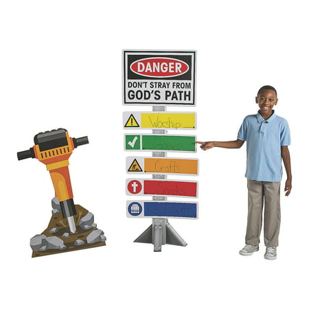 Construction Party Signs (CONSTRUCTION VBS DIRECTIONAL SIGN - Party Decor - 2)