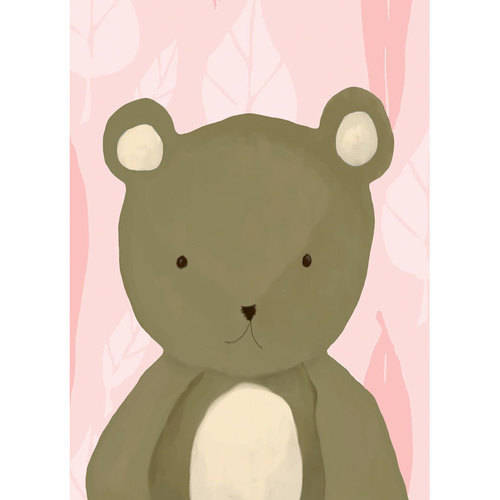 Oopsy Daisy - T.R. the Bear - Pink Canvas Wall Art 10x14, Meghann O'Hara