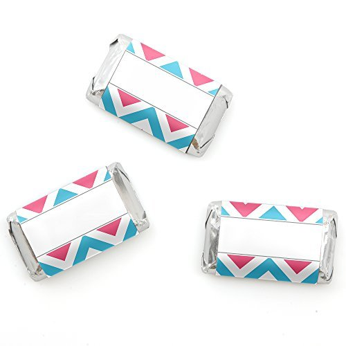 Chevron Gender Reveal - Mini Candy Bar Wrappers Party Favors - 20 Count