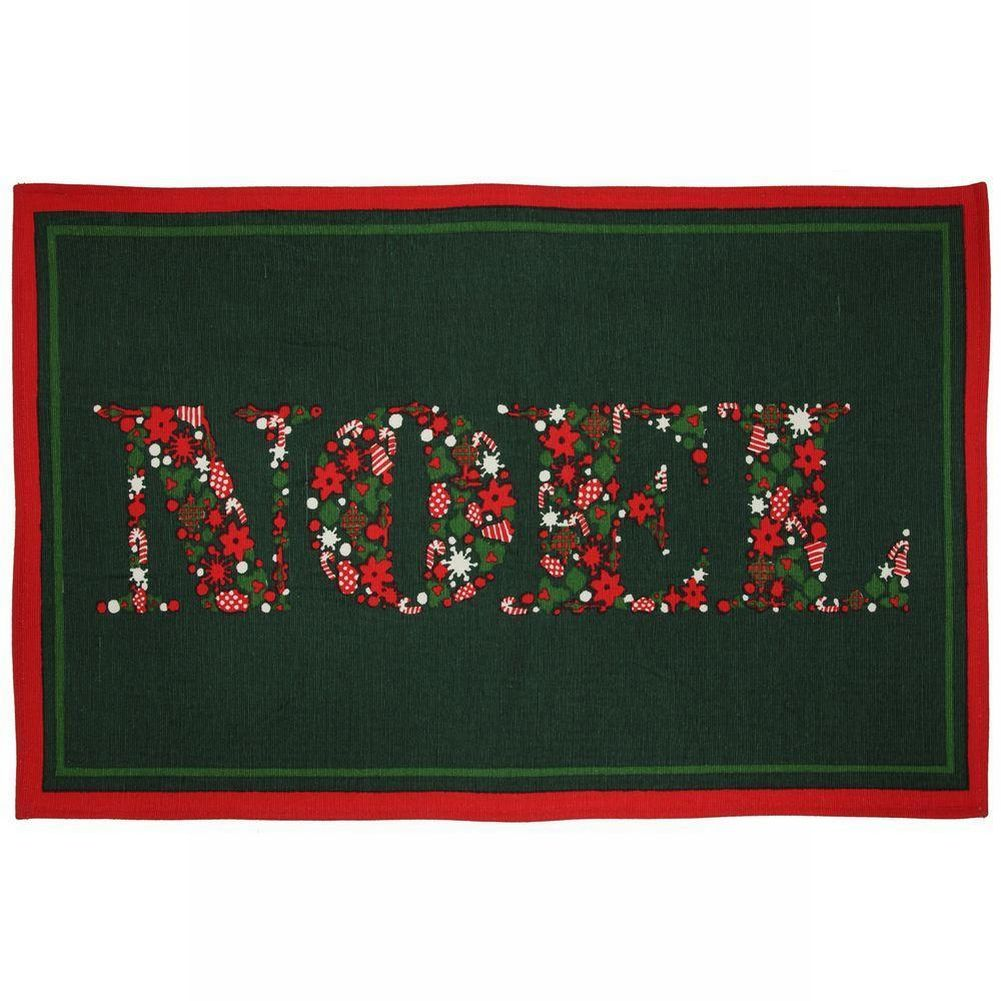 martha stewart living christmas noel accent rug non skid holiday mat 18x30 - Martha Stewart Rugs