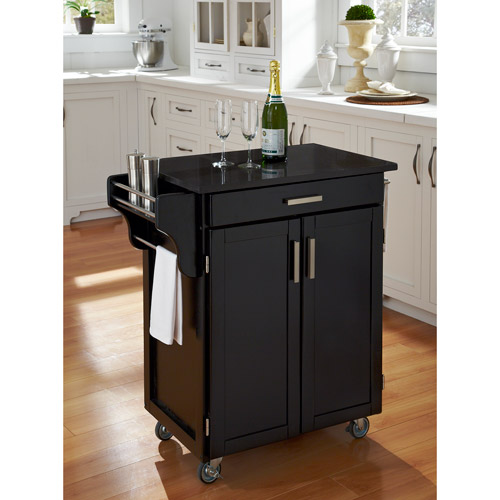 Home Styles Kitchen Cart, Black / Black Granite Top