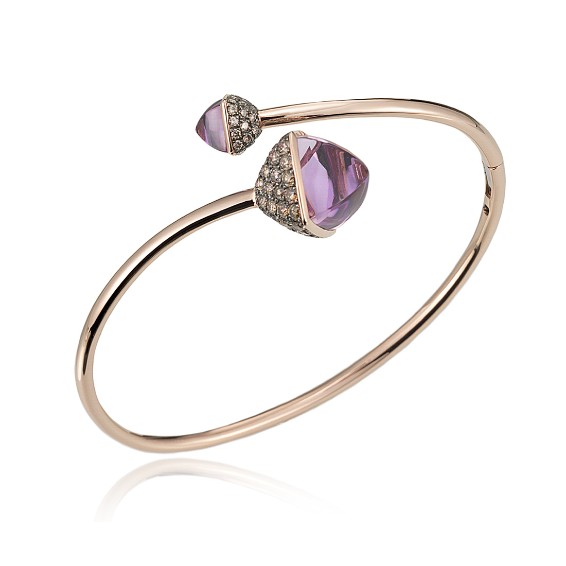 Diamond and Amethyst Bypass Bracelet in 14k Rose Gold by Ax Jewelry