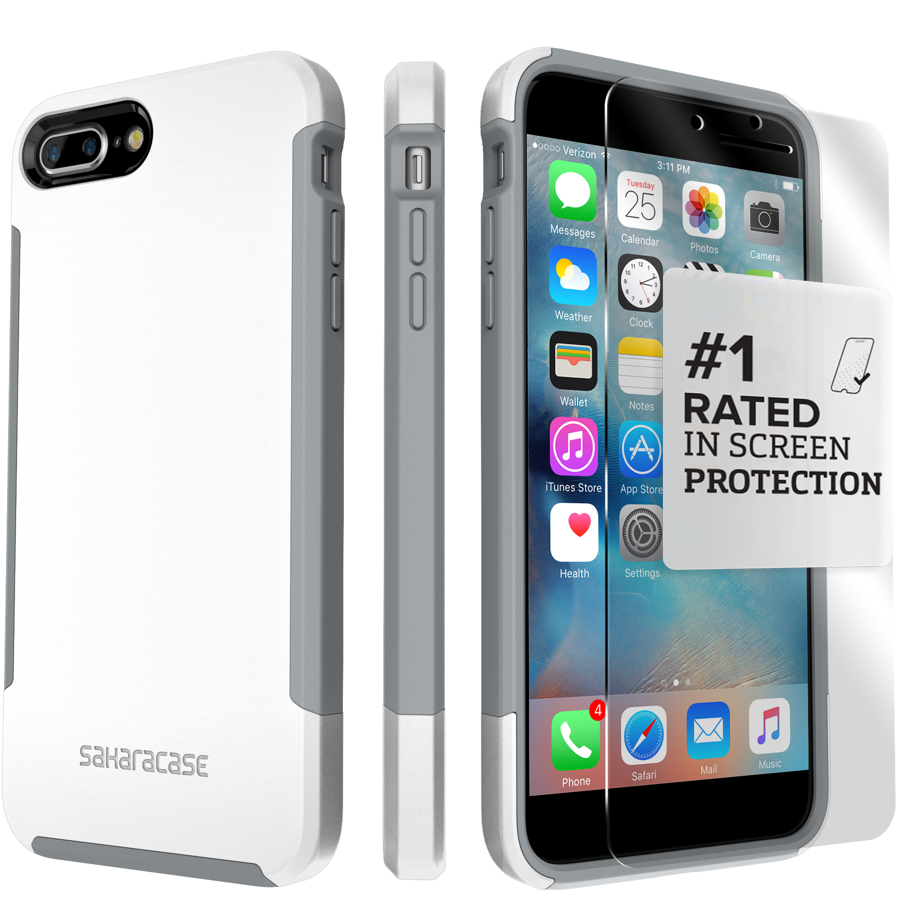 SaharaCase iPhone 8 and 7 Inspire Case, Protective Kit Bundle with ZeroDamage Tempered Glass Screen Protector - Black