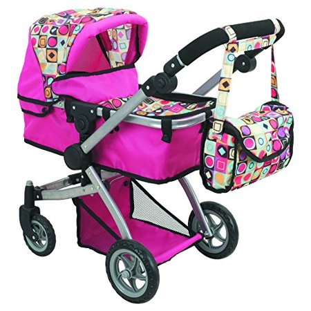 Doll Strollers Pro Deluxe Doll Stroller with Swiveling Wheels, Adjustile Handle and Carriage Bag