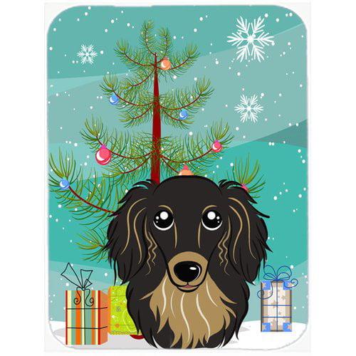 Caroline's Treasures Under the Christmas Tree and Longhair Dachshund Glass Cutting Board