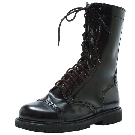 MENS SIZING 1 Inch Wedge Platform Combat Boots Lace Up With Round