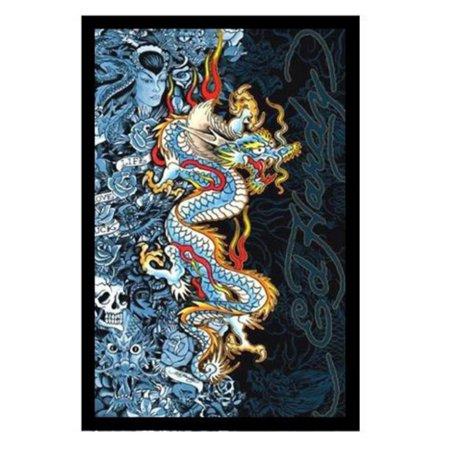 BuyArtForLess Ed Hardy Blue Dragon Tattoo Poster Framed Wall Art