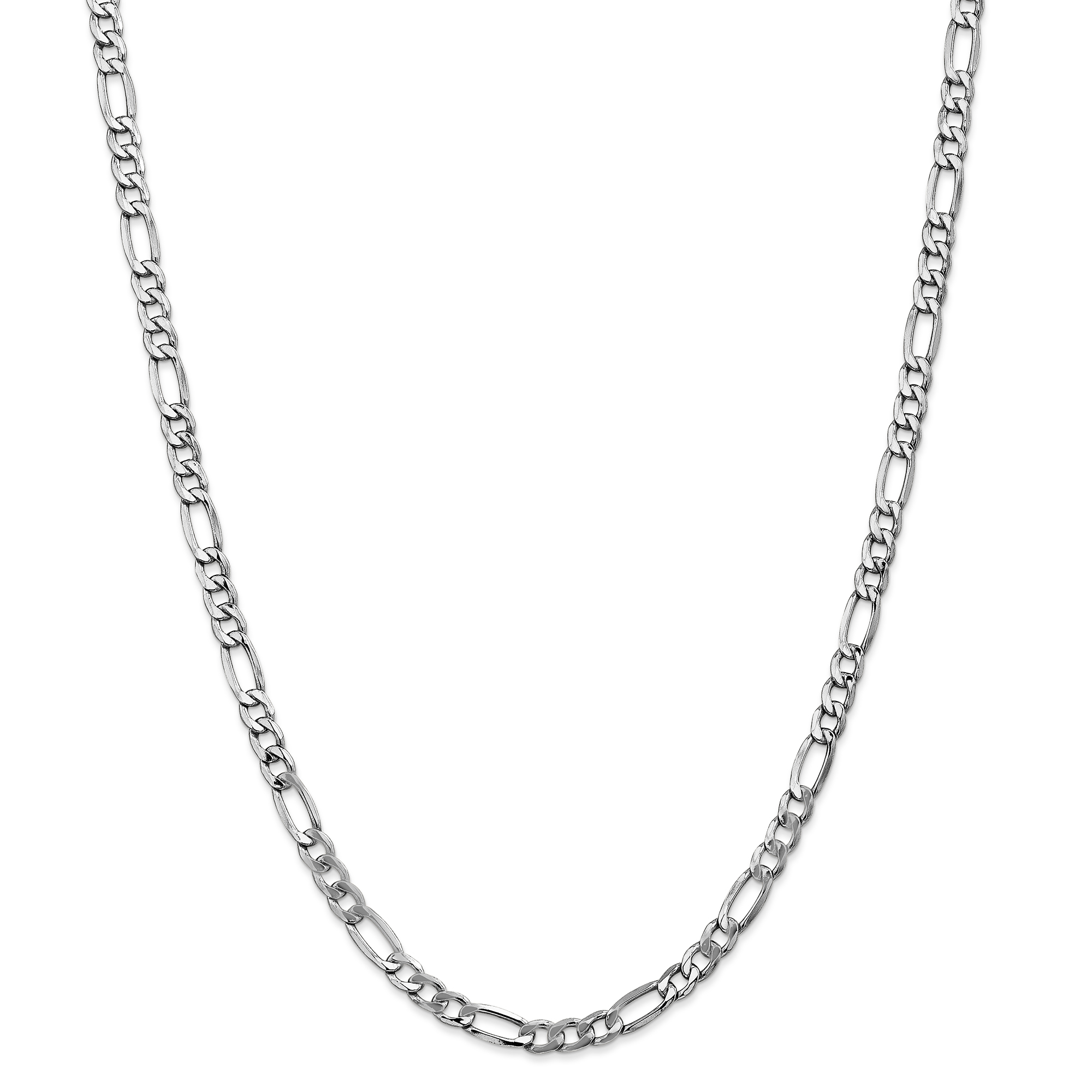 14k White Gold 5.75mm Link Figaro Chain Necklace 24 Inch Pendant Charm Fine Jewelry Gifts For Women For Her - image 5 of 5