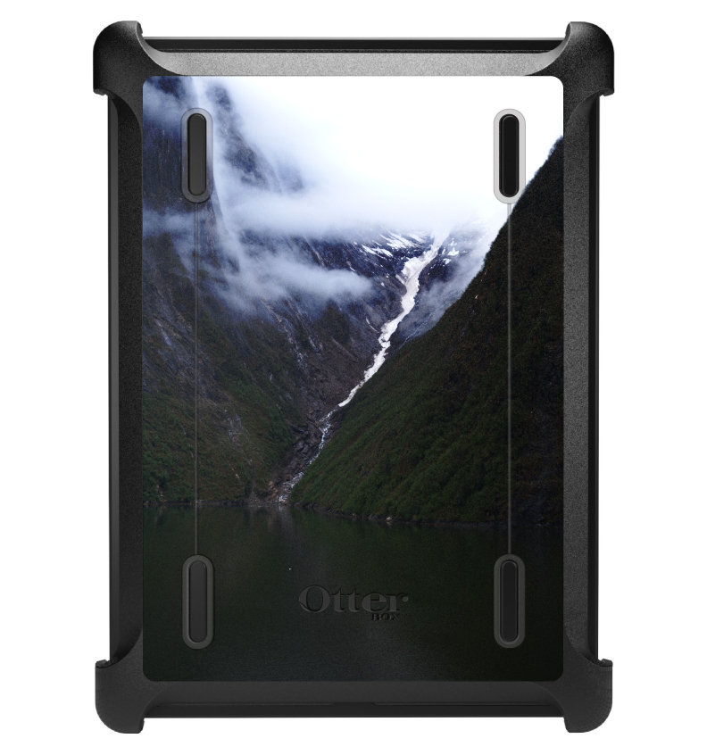 CUSTOM Black OtterBox Defender Series Case for Apple iPad Air 1 (2013 Model) - Tracy Arm Fjord Waterfall
