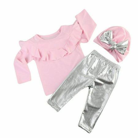 3Pcs Newborn Toddler Baby Girl Tops T-shirt + Long Leggings Pants Outfits