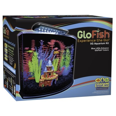 GloFish Crescent Aquarium Kit 5 G, Includes Blue LED Light And Filter