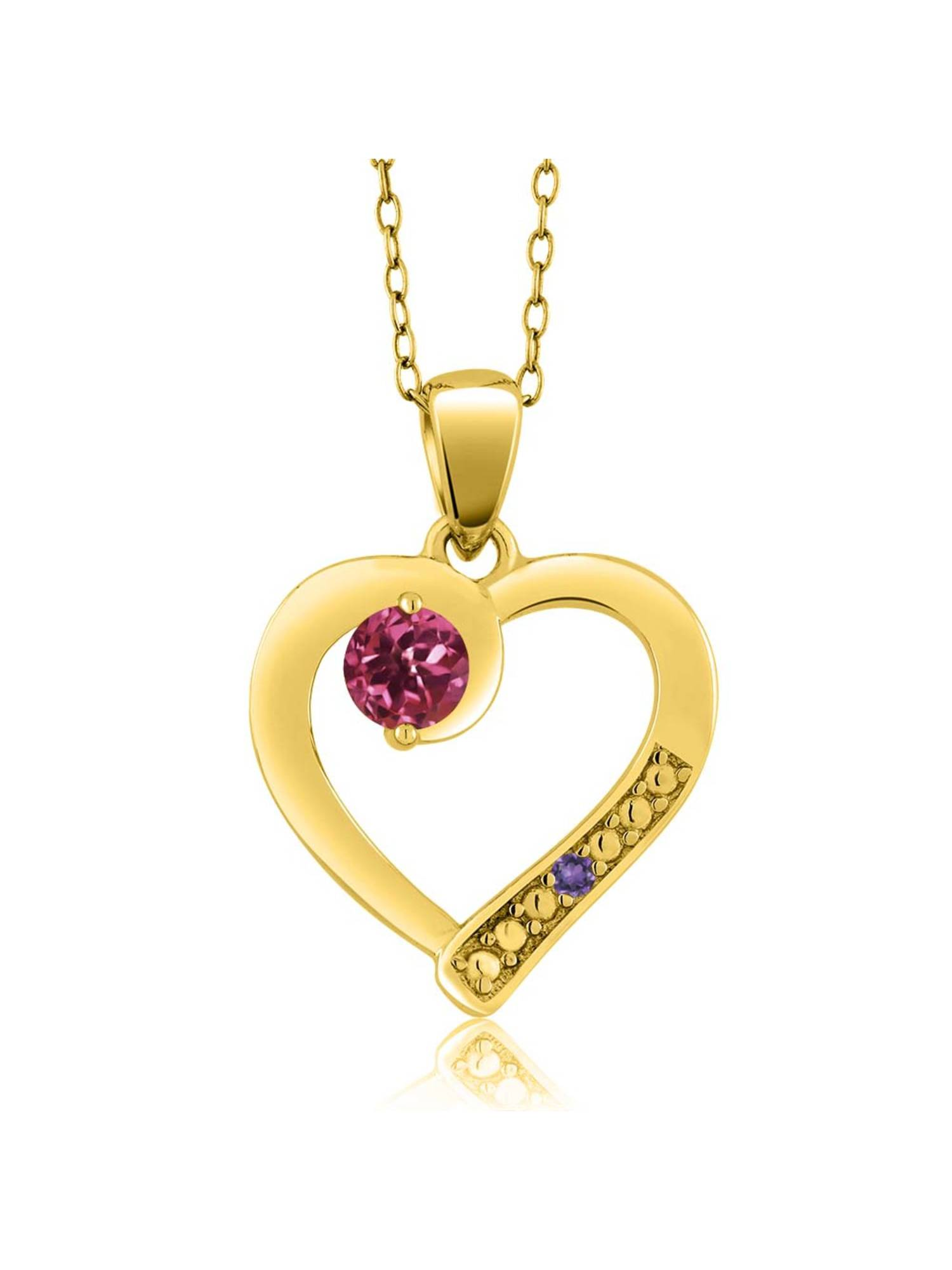 0.26 Ct Pink Tourmaline Purple Amethyst 18K Yellow Gold Plated Silver Pendant by