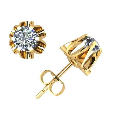 - 2/5Ct Round Cut Diamond Buttercup Stud Earrings 14k Yellow Gold Prong Set F VS2