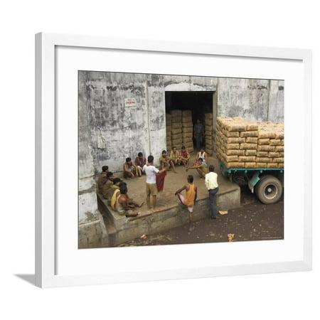 Warehouse Workers Having Rest Break at Carrit Moran & Company's Tea Warehouses at Kolkata Port Framed Print Wall Art By Eitan (Warehouse Frames)