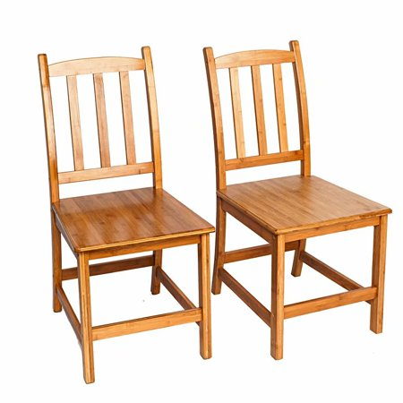 Akoyovwerve 2pcs Sturdy Bamboo Dining Chairs Wood (Antique Bamboo Chair)