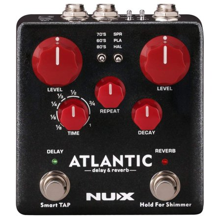 NUX Atlantic Multi Delay and Reverb Effect Pedal with Inside Routing and Secondary Reverb Effects (Delay Reverb Pedal)